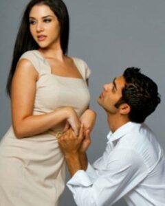 A needy man pleading to a woman