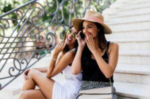 Girls talking on phone
