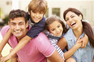 A man around his happy family