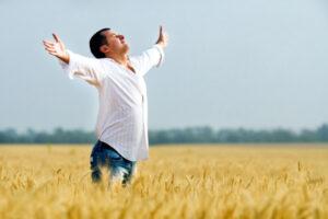 A man feeling joy